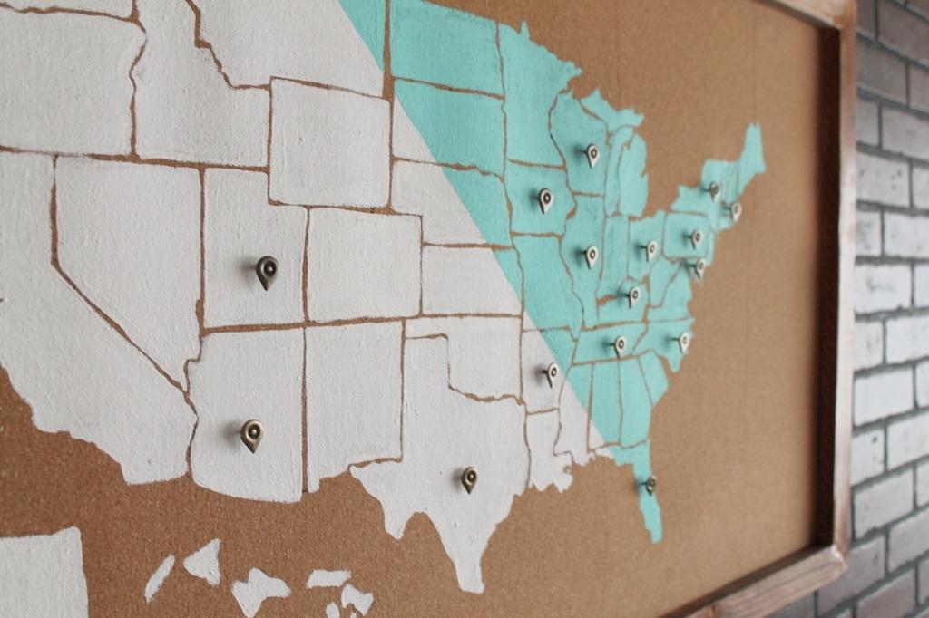 Diy usa map wall art for Diy map wall art